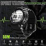 Kariwell Men Sports Smart Watch - IP68 Waterproof Fitness Tracker Dynamic Heart Rate Sleep Monitoring GPS Ultra-Long Battery Life Kari-48 (Black)