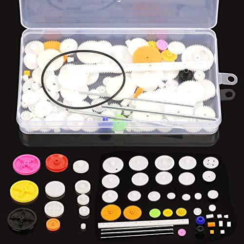 HAKOTOM 106pcs engranajes de plástico conjunto corona engranaje rueda accesorios solo doble reducción gusano engranaje para niños robot motor juguete DIY piezas modelo Amateur ciencia proyectos niños