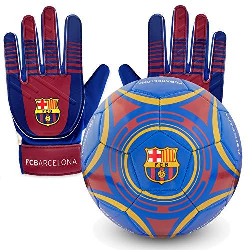 FC Barcelona Officiel - Lot Ballon et Gants de Gardien de Fo