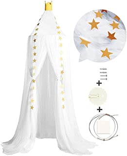 Mosquito Net with Stars Hanging Tent Baby Bed Crib Canopy Tulle Curtains for Bedroom Play House Tent for Kids Room (Color...