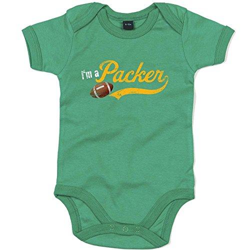 I'm a Packer Premium Babybody American Football Super Bowl NFL Mädchen Kurzarmbody, Farbe:Grün (Kelly Green BZ10);Größe:0-3 Monate