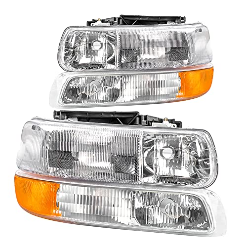Corkiauto Headlight Replacement Kit Compatible with 99-02 Chevy Silverado 00-06 Tahoe Suburban, Chrome Amber Bumper Lamp