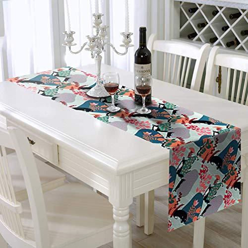 AAYU Camino de mesa decorativo de lino sintético de 35,56 x 274,3 cm,...