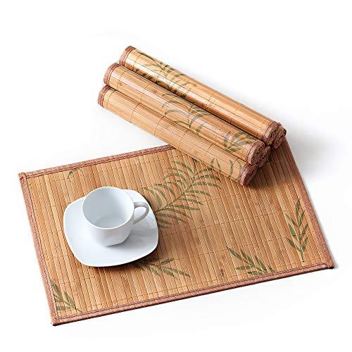 LOVECASA Bambus Platzset, 6 TLG. Set Tischmatte, 45 x 30 cm, Tischsets Bambus