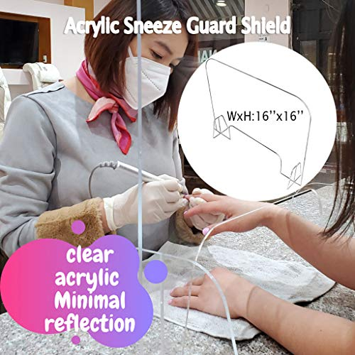 GraPefruiT Acrylic Sneeze Guard, Clear Hard Isolation Shield for Restaurant Grocery Stores Salons Retailers Reception Counter 15.7 Inch