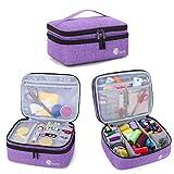 Luxja Bolsa para Kit de Costura, Doble Capa Organizador de Accesorios de Costura, Bolsa para Agujas, Hilo, Tijeras y Otras Materiales de Costura, Púrpura