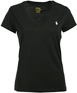 Polo Ralph Lauren Women's Pony Logo V-Neck Tee (Large, Black/White Pony)