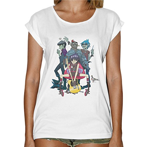T-Shirt Mujer Fashion Grupo Musical Gorillaz-Blanco