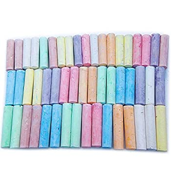 52 Count Sidewalk Chalk Nontoxic Assorted 8 Colors Jumbo Size 4 X 1 Inch Bulk Set for Kids Outdoors Color Drawing Art or Outside Street Driveway Washable