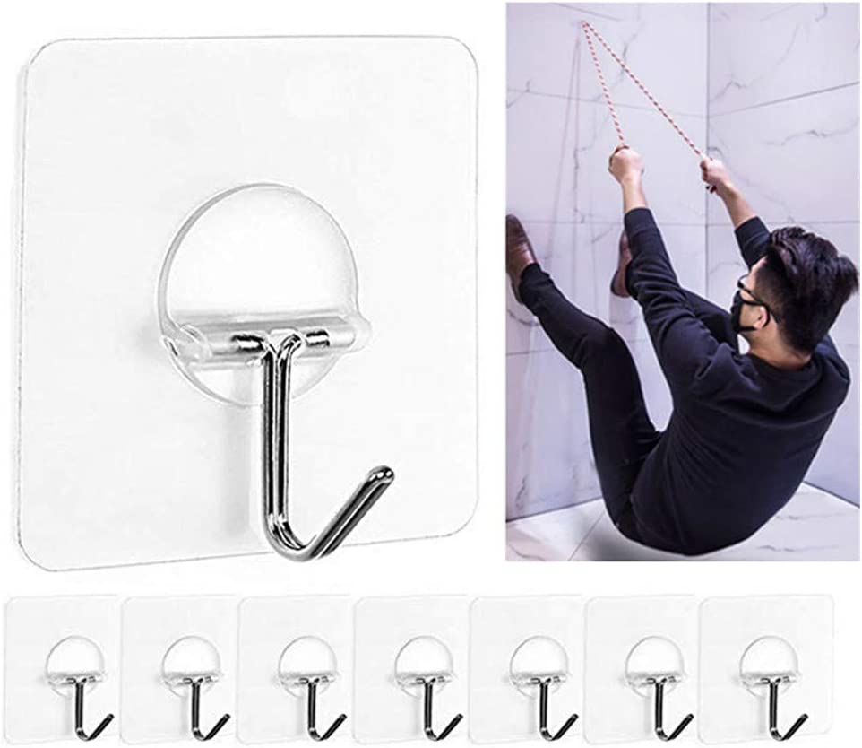 1-10X Super Strong Self Adhesive Wall Hooks Suction Cup Sucker Hanger Bathroom