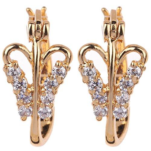Yazilind Encanto Diseño de la mariposa 14K Gold Filled Inlay Claro Circonita Pendientes del aro pequeño cúbico para la Mujer
