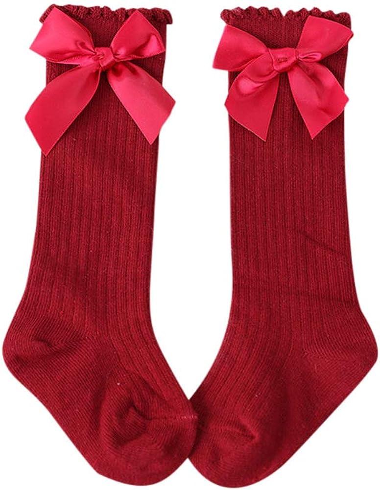 Baby Toddlers Knee-High Socks Little Girl Princess Cute Bow Socks 0-6 Years