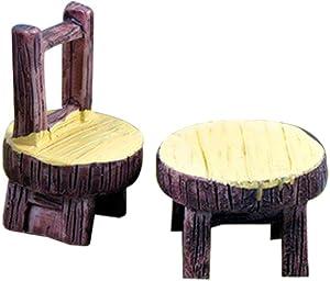 Wansan 2 Pcs Miniature Fairy Garden Table and Chair Accessories Home Garden Outdoor Decoration Ornaments DIY Craft Decor