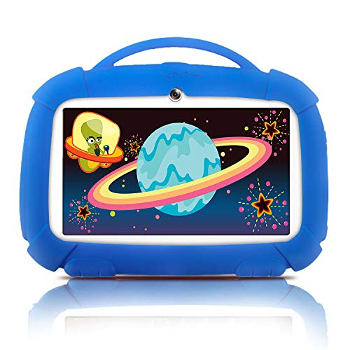 Kids Tablets, Android Tablet for Kids, 16GB ROM, IPS Eye Protection Display, Kids Tablet with WiFi Dual Camera Parental Control Kid-Proof Case and Learning Games, Best Gift for Boys(Blue)
