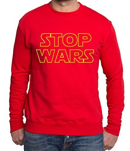 Stop Wars Sudadera de Hombre Star Vader Luke Wars Jedi Yoda Skywalker, Farbe2:Rojo;Gr��e2:M