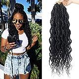 (6Packs)18Inch Wavy Senegalese Twist Crochet Hair Braids Wavy Ends Synthetic Hair Extension Curly Crochet Twist Braiding Hair (#1B)