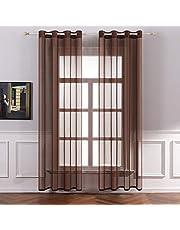 MIULEE 2 Panneaux Couleur Pure Rideaux De Fenêtre Transparents Lisse Élégant Panneaux Voile De Fenêtre Rideaux Traitement pour