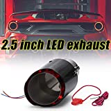 PQY 2.5 Inch Exhaust Pipe LED Light Carbon Fiber Texture Truck Tail Throat Universal Model Red Light