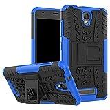 MINGYOUNG para ZTE Blade L5/L5 Plus Funda Hybrid Rugged Armor Duro PC + TPU Silicone Back Case Cover Carcasa con Kickstand para ZTE Blade L5/L5 Plus (Azul)