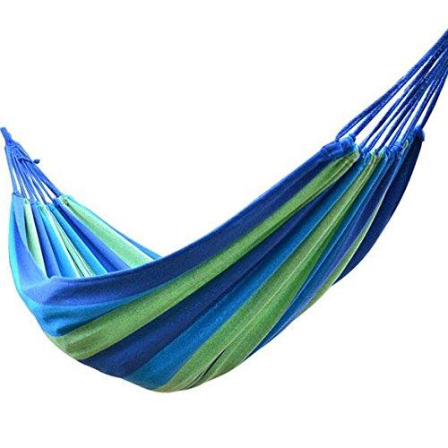 Lindaeshop Hamaca portátil al aire libre, cama, viaje, camping, columpio de lona con rayas azules