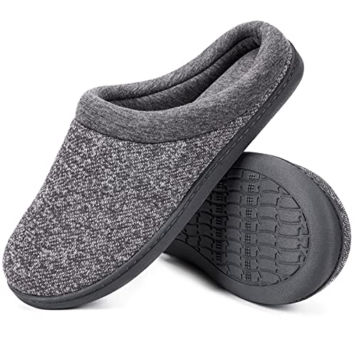 Women's Comfort Slip On Memory Foam Slippers French Terry Lining House Slippers w/ Durable Sole (Medium / 7-8 B(M) US, Light Gray)