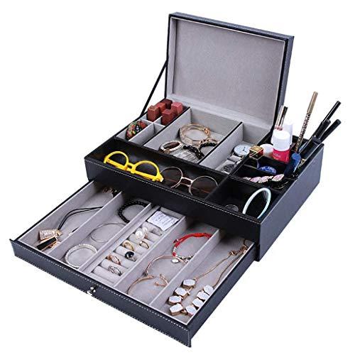 Mostrar pantalla Caja de almacenamiento Joyería Colección Caso Organizador Holder PU Cuero Escritorio Suministros Organizadores Organizador de cosméticos Bandeja con cajón para cosméticos, joyería, ar