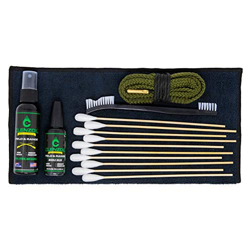 Clenzoil Field & Range Pistol & Rifle Essentials Gun Cleaning Kit | CLP Spray & Oiler with Bores Cleaner | Clean, Lubricate & Protect | Nylon Brush, Bore Swabs & Microfiber (9mm | 38 Caliber)