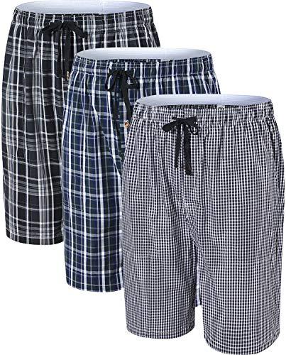 JINSHI Hombre Pantalones Cortos de Pijama Algodón Casa Shorts a Cuadros con Bragueta de Botón 3 Pack M