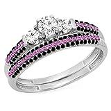 Dazzlingrock Collection 10K Round White & Pink Sapphire, Black Diamond Bridal Engagement Ring Set, White Gold, Size 5