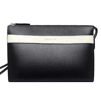Mens Wallet Clutch Bag Vintage Leather Hand Bag Organizer Checkbook(Black)
