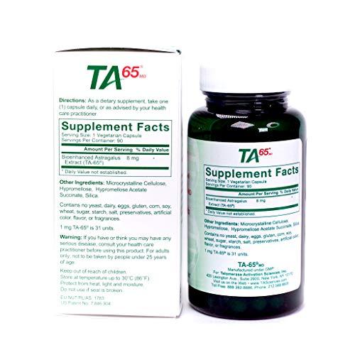 T.A. Sciences | TA-65 Supplement | 1x90 Capsules | 250 U | Free MCT Oil Powder 2