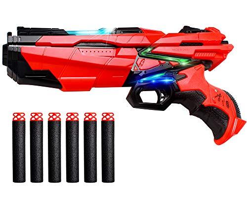 StillCool Pistolenpistole zum Spielen mit Darts aus Schaumstoff, kompatibel mit Nerf-Pistolen, mit 6 Ersatzteilen aus weichem EVA-Schaumstoff