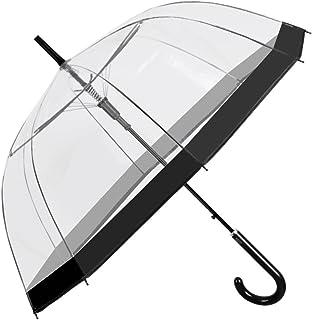 Paraguas Transparente Mujer Borde Negro de Moda - Paraguas Clásico de Burbuja Campana Automatico de Chica - Paraguas Resis...