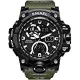 Military Men's Sports Analog Quartz Watch Dual Display Alarm Digital Watches with LED Backlight (Green)