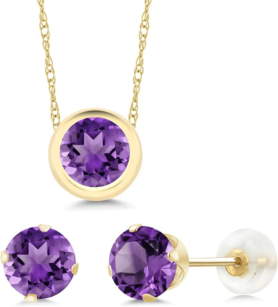 Gem Stone King 14K Yellow Gold Purple Amethyst Pendant Earrings Set For Women (2.10 Ct Round with 18 Inch Chain)