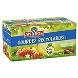 ANDROS - Compote de Fruit - Gourde Recyclable - Allégée - Goût Pomme + Pomme/Banane + Pomme/Fraise + Pomme/Vanille - Idéal pour le Goûter des Enfants et des Bébés - Lot de 20