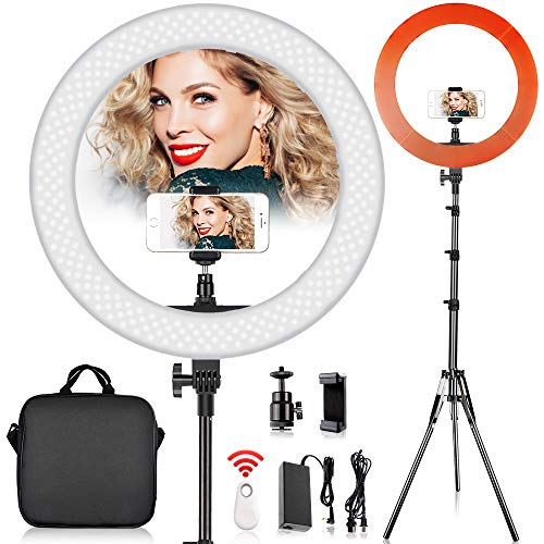 19 inch LED Ring Light with 2M Stand for Phone and Camera, FOSITAN 18 inches/48.5cm...