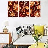 Lot de 3 posters, motif floral Mandala, toile imprimée, décoration murale tendance, impression d'art pour appartement, salon, chambre, sans cadre, Toile, Blanc, 30 x 40 cm