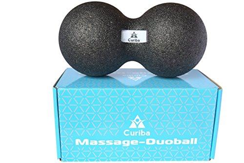 Duoball Faszienball - Massageball 12 * 24 cm inkl. Anleitung - Doppelball zur Gezielten Selbstmassage von Muskeln & Faszien - Faszienrolle Duo Rücken, Nacken, Wirbelsäule