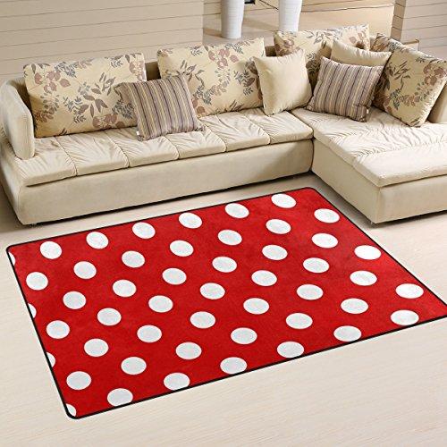 Use7 Rutschfeste Fußmatte für Kinderzimmer, Wohnzimmer, Schlafzimmer, Rot mit weißen Punkten, Textil, mehrfarbig, 50 x 80 cm(1.7' x 2.6' ft)