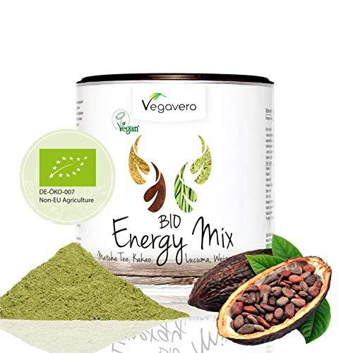 VEGAVERO® BIO SUPERFOOD MIX ENERGY   200g   Schadstoff-geprüft   Matcha - Lucuma - Weizengras - Kakaopulver   OHNE Zusatzstoffe   Vegan