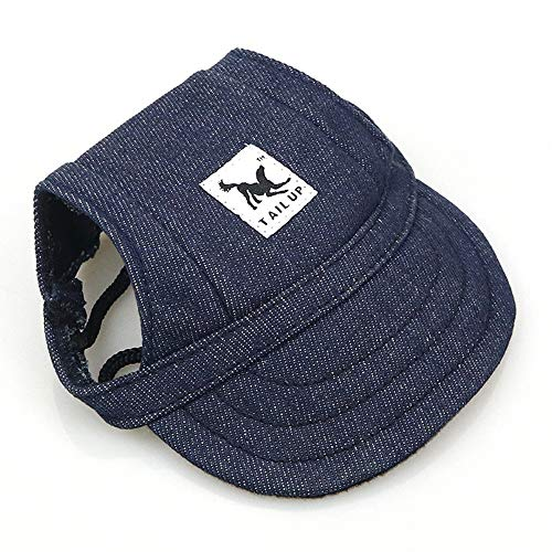 Leconpet Baseball Caps Hats with Neck Strap Adjustable Comfortable Ear Holes for Small Medium and Large Dogs in Ourdoor Sun Protection (S, Blue Jeans)