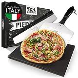 Pizza Divertimento - Piedra de pizza para horno y parrilla de gas - Con deslizador y cortador de pizza - Piedra de pizza de cordierita - Piedra de pizza base crujiente
