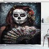 ASDAH 48X72inch Día de los Muertos Cortina de Ducha Maquillaje Artista Chica Calavera Miedo Rosas Obra de Arte Impresión Tela de Tela Baño Decoración Set con Ganchos