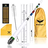 Hydrometer Alcohol - Brewing Tool for Making Beer, Wine, Sprit & Kombucha - Our ABV Tester Kit Contains Triple Scale Meter with a Hard Cover Case, 250ml Test Jar, Cylinder Brush, Cloth and a Carry Bag