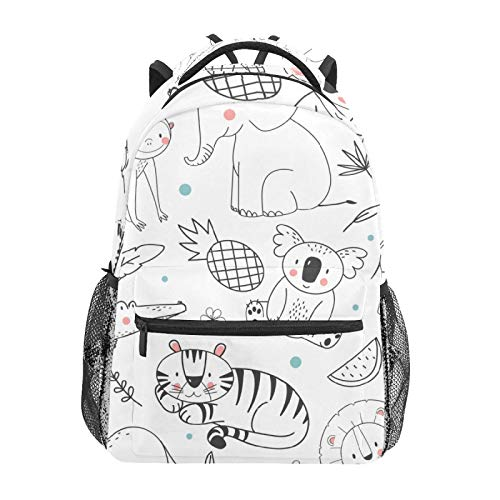 School Backpack Animals Sloth Tiger Lion Casual Travel Laptop Daypack Canvas Book Bags for Woman Girls Boys Student Adult Men