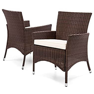 Best Choice Products Set of 2 Modern Contemporary Wicker Patio Dining Chairs w/Water Resistant Cushion - Brown