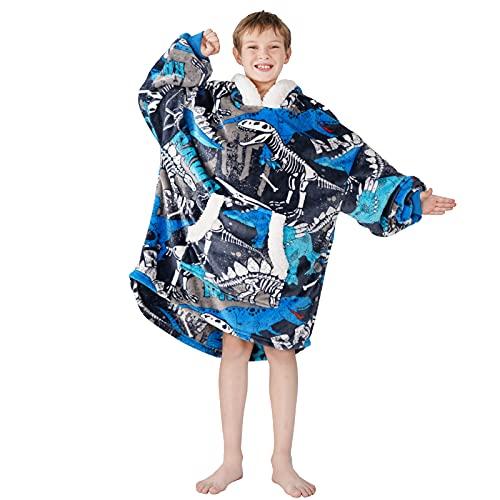Winthome Felpa con cappuccio, in flanella, per bambini e bambine, dinosauro, Taglia unica