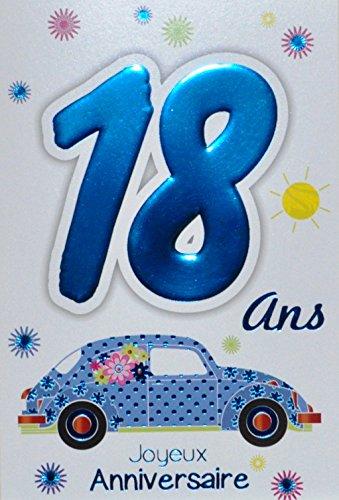 Age Mv 69-2018 Carte Joyeux Anniversaire 18 ans Garçon Jeune Homme Adulte motif Majorité Majeur Permis B Conduire Voiture