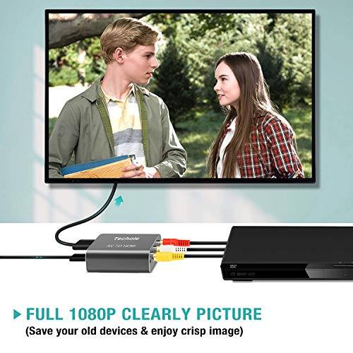 RCA to HDMI, Techole Aluminum 1080P RCA Composite CVBS AV to HDMI Video Audio Converter Adapter Supporting PAL/NTSC.Included 3RCA Composite Cable, CVBS Converter for PS2 Wii Xbox SNES N64 VHS VCR DVD PC